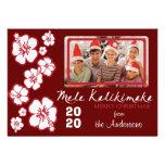 Tarjetas de Navidad rojas del hibisco de la foto d Comunicado Personal