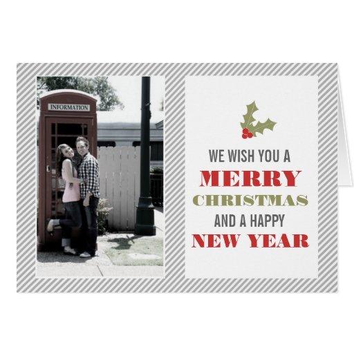 Tarjetas de Navidad rojas y verdes del acebo y de