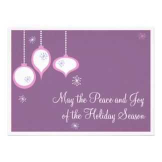 Tarjetas de Navidad rosadas retras Comunicado Personalizado