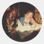 Tarjetas de Navidad tradicionales Etiquetas Redondas