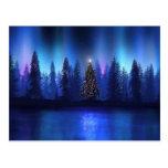 Tarjetas de Navidad y regalos azules profundos mag Postal