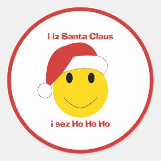 Tarjetas de Navidad y regalos sonrientes de Santa Etiqueta Redonda