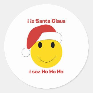 Tarjetas de Navidad y regalos sonrientes de Santa Pegatina Redonda