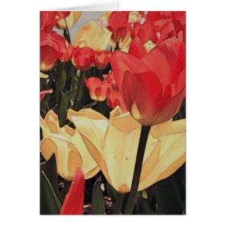 Tarjetas de nota abstractas de los tulipanes