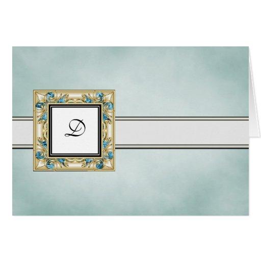 Tarjetas de nota cones monograma azules elegantes