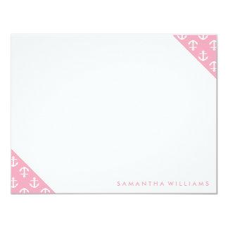 """Tarjetas de nota de encargo del modelo rosado de invitación 4.25"""" x 5.5"""""""