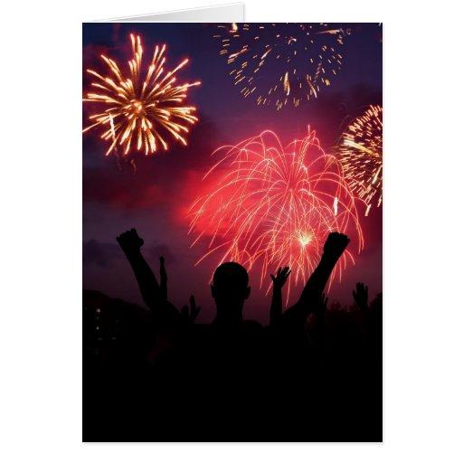 Tarjetas de nota de la celebración de los fuegos a