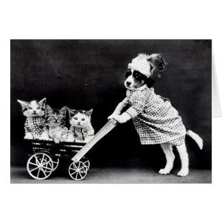 Tarjetas de nota de los perritos y de los gatitos