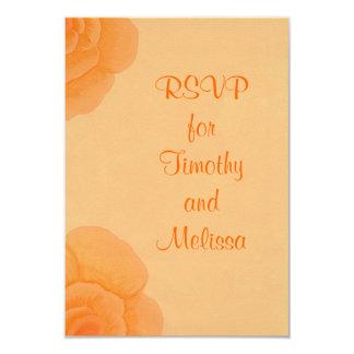 """Tarjetas de nota de RSVP, rosas anaranjados Invitación 3.5"""" X 5"""""""