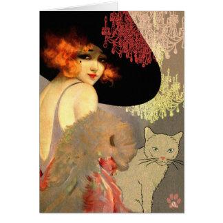 Tarjetas de nota del gato y de la lámpara del Vero