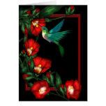 Tarjetas de nota del hibisco del colibrí