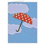 Tarjetas de nota lindas del paraguas