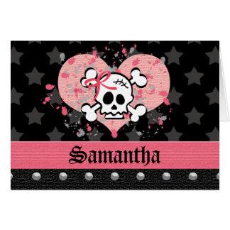 Tarjetas de nota personalizadas cráneo rosado