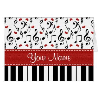 Tarjetas de nota personalizadas del piano de la no
