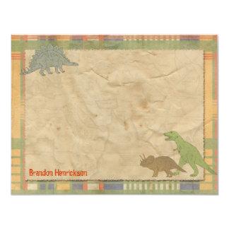 """Tarjetas de nota personalizadas dinosaurio invitación 4.25"""" x 5.5"""""""