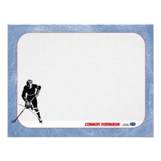 Tarjetas de nota personalizadas hockey comunicado personal
