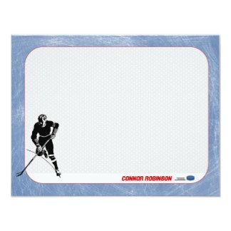 """Tarjetas de nota personalizadas hockey invitación 4.25"""" x 5.5"""""""