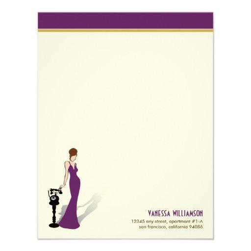 Tarjetas de nota planas de encargo de la diva retr invitación personalizada