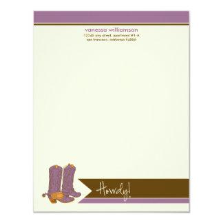 """Tarjetas de nota planas de encargo de las botas de invitación 4.25"""" x 5.5"""""""