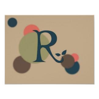 """Tarjetas de nota planas de la letra R del Invitación 4.25"""" X 5.5"""""""
