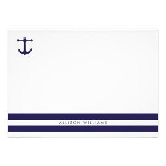 Tarjetas de nota planas de la marina de guerra náu invitaciones personalizada