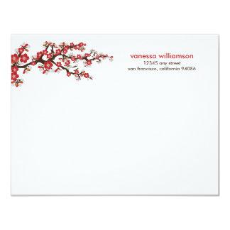 """Tarjetas de nota planas de las flores de cerezo invitación 4.25"""" x 5.5"""""""