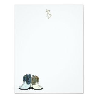 """Tarjetas de nota planas del monograma de las botas invitación 4.25"""" x 5.5"""""""