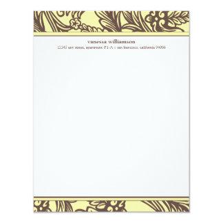"""Tarjetas de nota planas florales de lujo (Golden Invitación 4.25"""" X 5.5"""""""