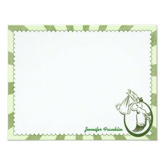 """Tarjetas de nota planas personalizadas cigüeña invitación 4.25"""" x 5.5"""""""
