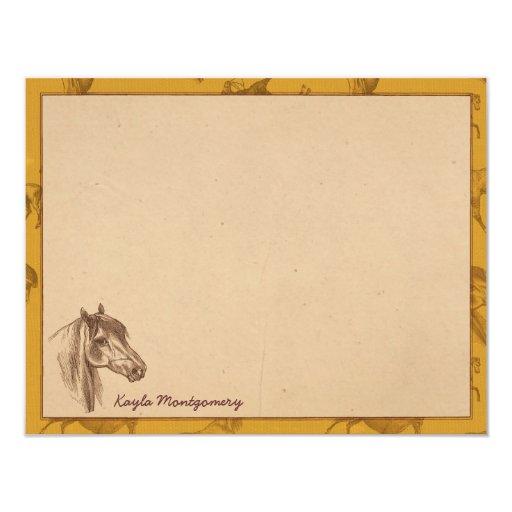 Tarjetas de nota planas personalizadas del caballo anuncio