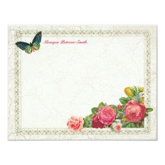 """Tarjetas de nota planas personalizadas florales invitación 4.25"""" x 5.5"""""""