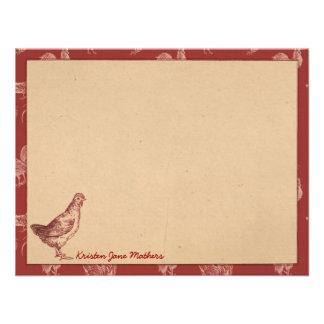 Tarjetas de nota planas personalizadas gallo de la anuncio