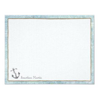 """Tarjetas de nota planas personalizadas náuticas - invitación 4.25"""" x 5.5"""""""
