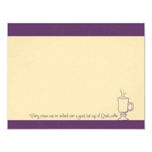 Tarjetas de nota púrpuras de la taza del café invitación 10,8 x 13,9 cm