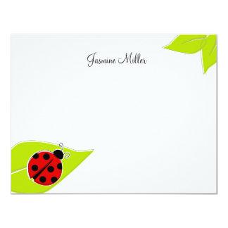Tarjetas de nota rojas de la mariquita invitación 10,8 x 13,9 cm