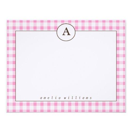 Tarjetas de nota rosadas de la guinga invitacion personalizada