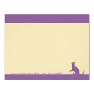 """Tarjetas de nota simples de la silueta del gato de invitación 4.25"""" x 5.5"""""""