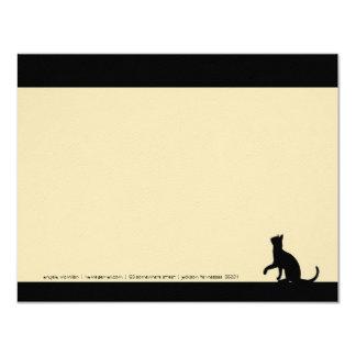 """Tarjetas de nota simples de la silueta del gato invitación 4.25"""" x 5.5"""""""