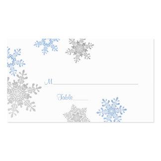 Tarjetas de plata azules del lugar del boda del tarjetas de visita