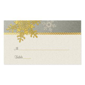 Tarjetas de plata del lugar del boda del invierno