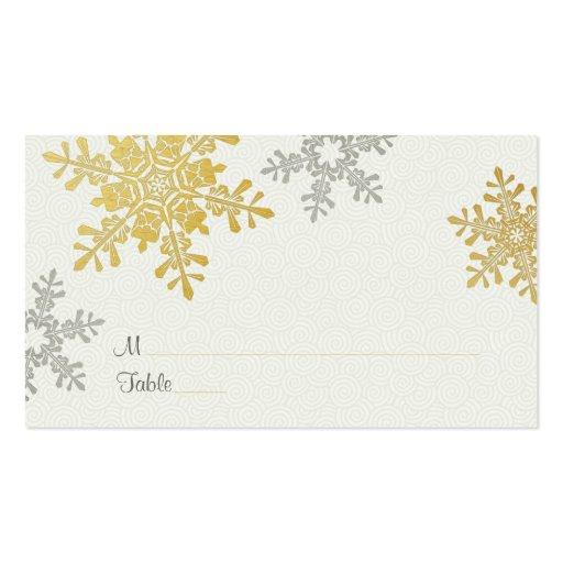 Tarjetas de plata del lugar del boda del invierno tarjetas de visita