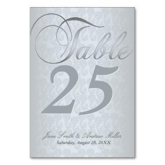 Tarjetas de plata del número de la tabla del damas