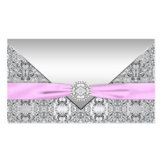 Tarjetas de plata y rosadas del asiento tarjetas de visita