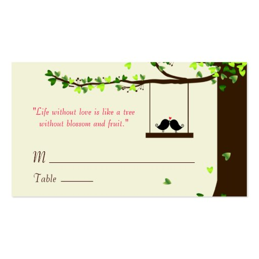 Tarjetas de presentación del roble de los corazone tarjeta de visita