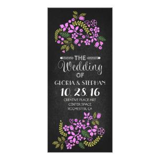 tarjetas de programa florales del boda de la lona personalizada