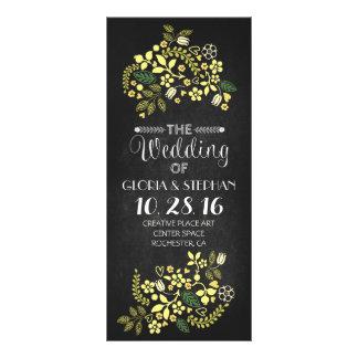 tarjetas de programa florales del boda de la pizar lona personalizada