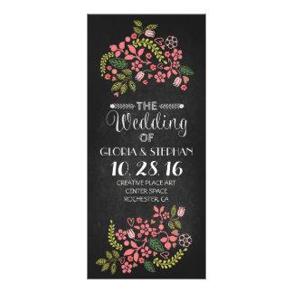 tarjetas de programa florales del boda de la pizar tarjeta publicitaria