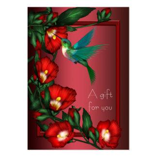 Tarjetas de regalo del vale del colibrí del hibisc tarjeta de visita