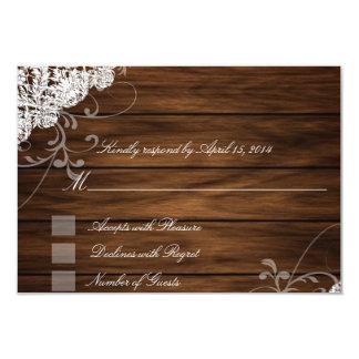 Tarjetas de RSVP de madera y del cordón del Invitación 8,9 X 12,7 Cm
