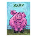 Tarjetas de RSVP del centro del fiesta del cerdo Invitación 8,9 X 12,7 Cm